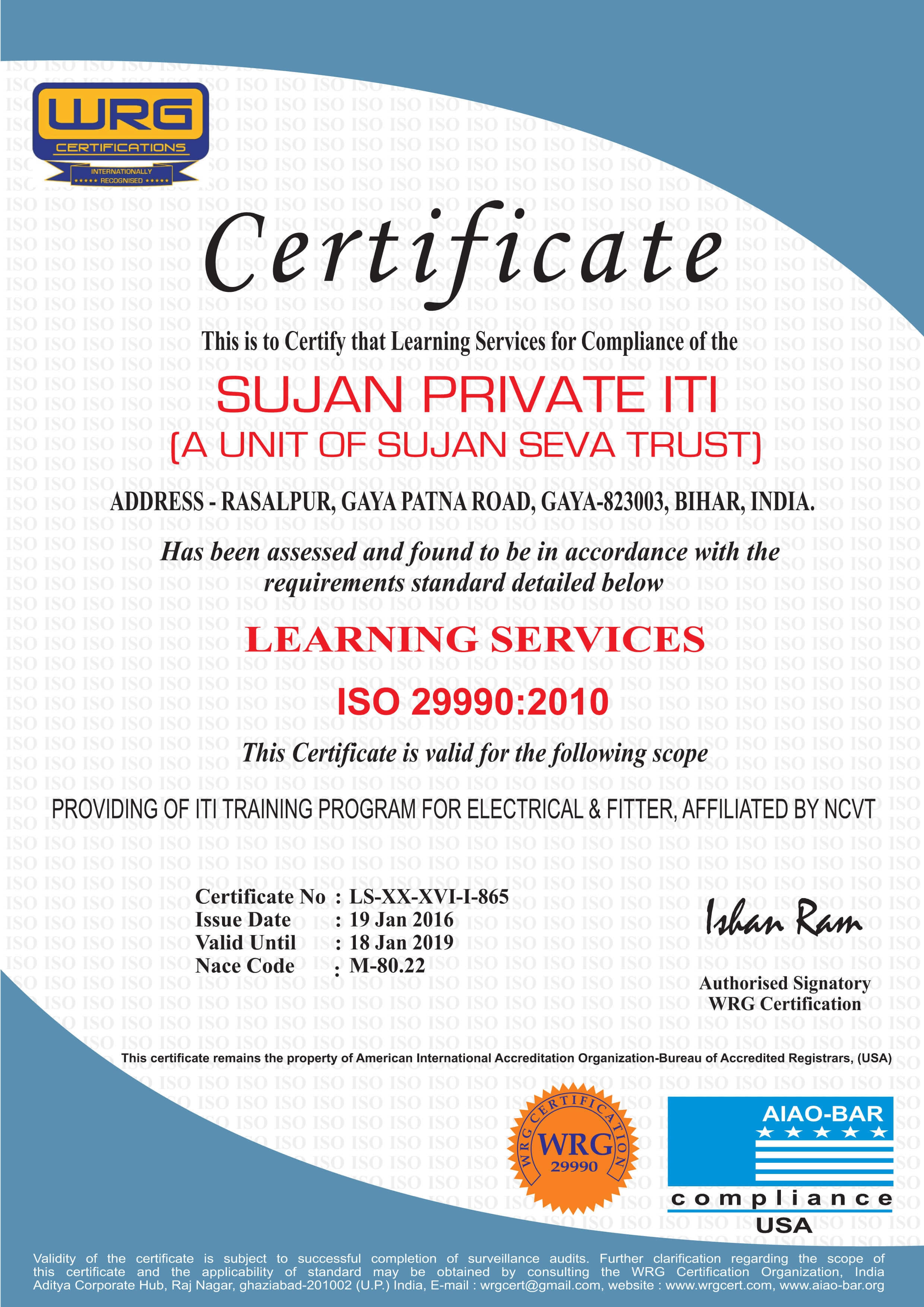 Iso certificates sujan private iti iso certified iti in gaya iso 299902010 certificate 1betcityfo Images