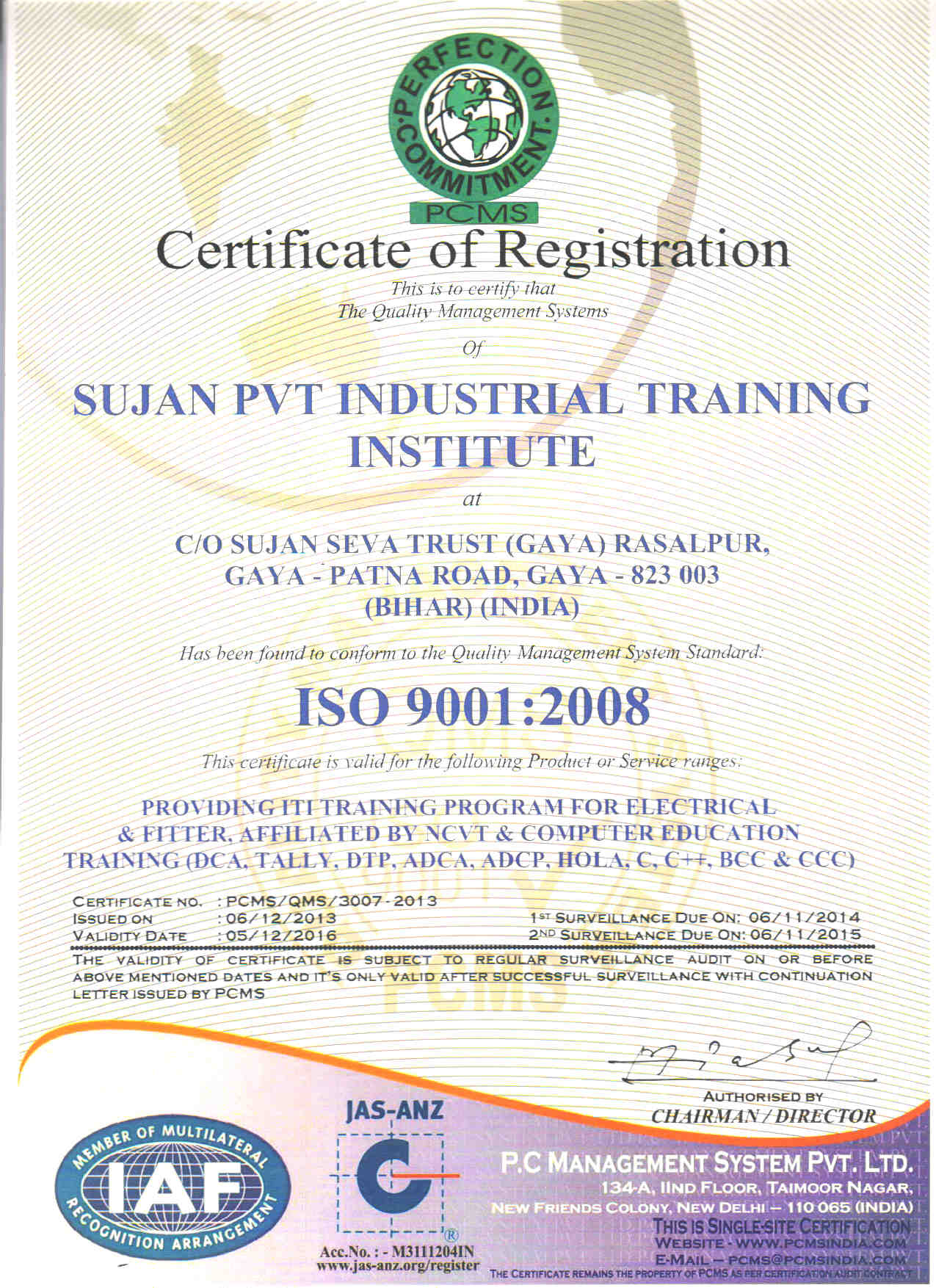 Iso certificates sujan private iti iso certified iti in gaya iso 90012008 certificate xflitez Images